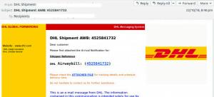 sample of fake DHL email
